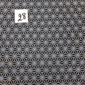 28 tissus lingettes fleurs noir bleu 28
