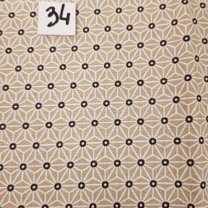 34 tissus lingettes fleurs beige 34