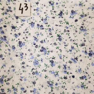 43 tissus lingettes fleurs bleu 43