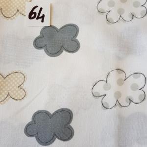 64 tissus lingettes motif nuage 64