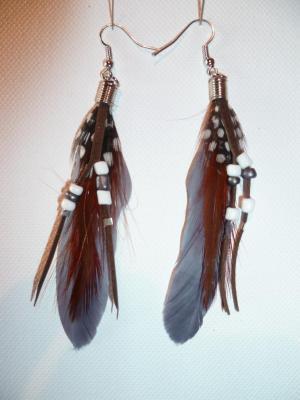 Boucles d'oreilles perles/gris