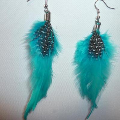 Boucles d'oreilles plume turquoise