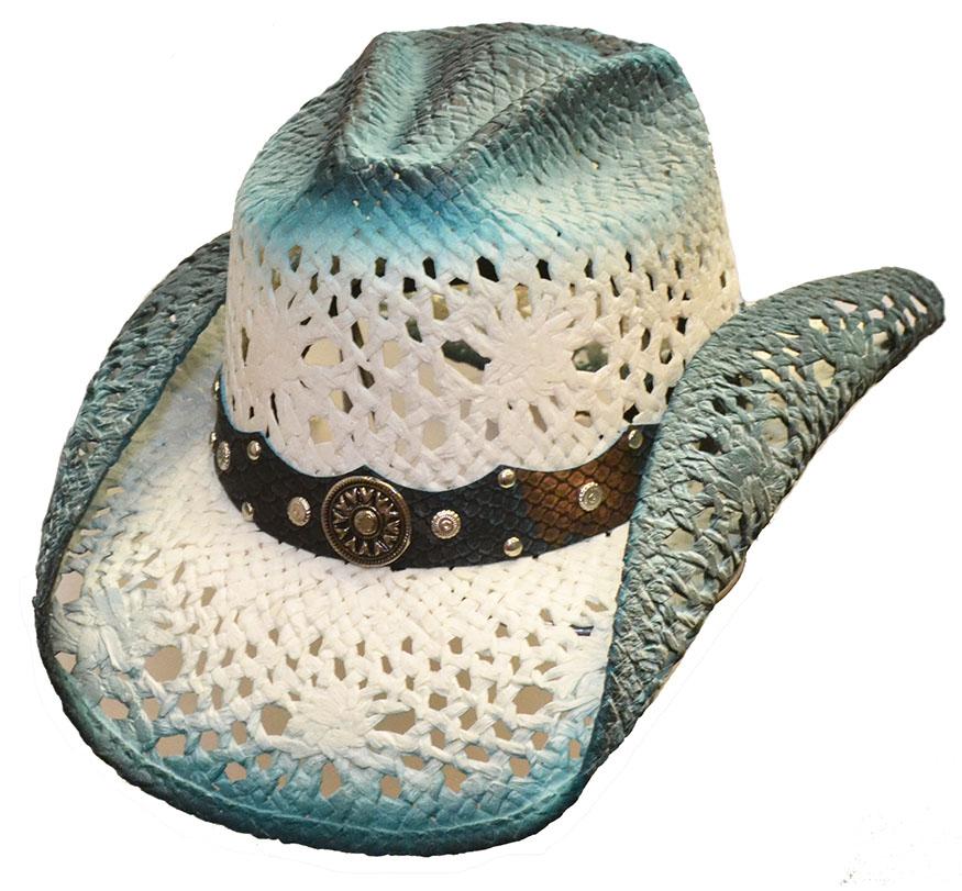 Chapeau country paille bleu lin 79