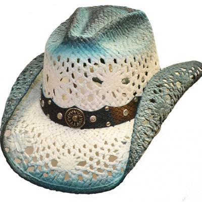 Chapeau paille bleu
