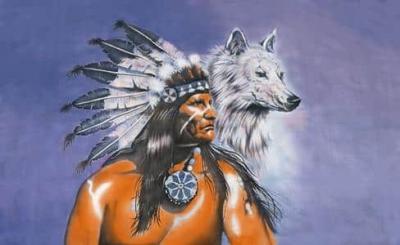 Drapeau Indien et Loup