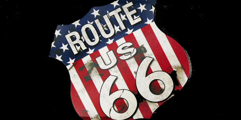 Drapeau route 66 plaque