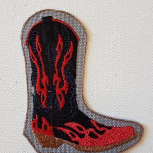Ecusson botte rouge noir petit