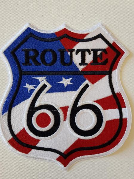 Ecusson route 66 fond drapeau grand