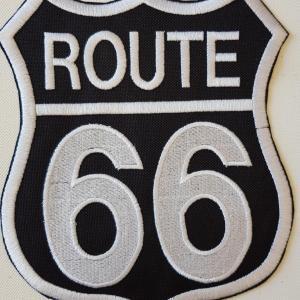 Ecusson route 66 fond noir grand 1