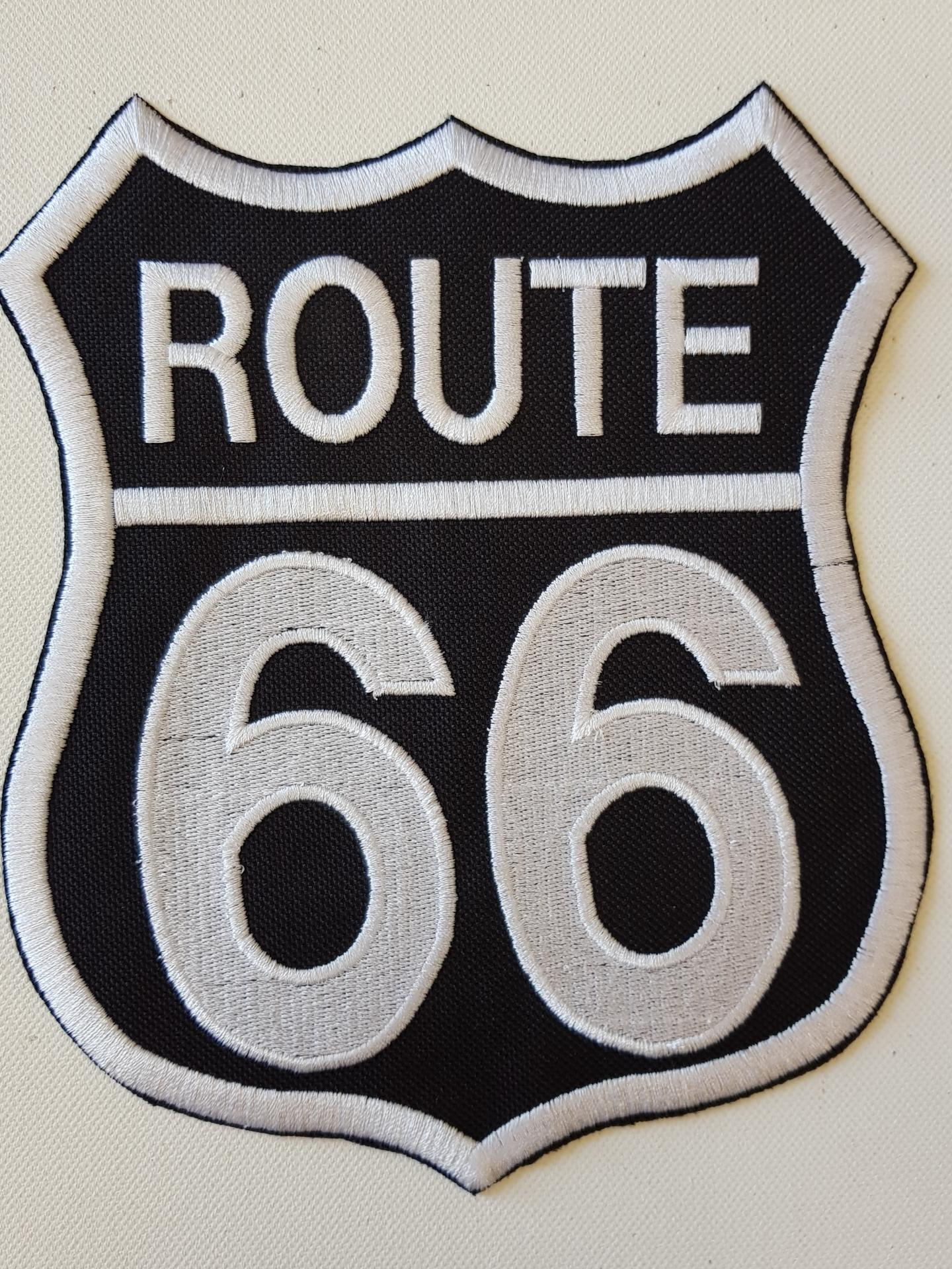 Ecusson route 66 fond noir grand