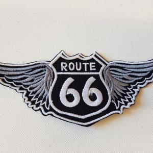Ecusson route 66 ailes noir petit