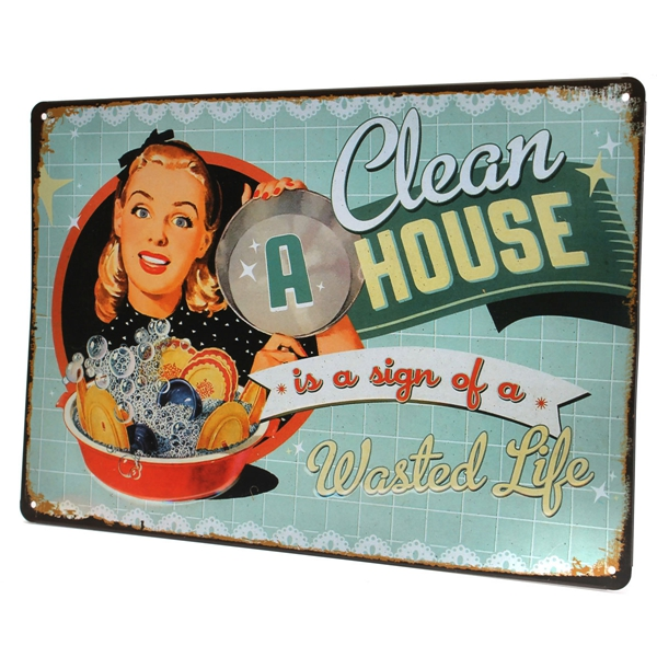 Plaque metal clean house