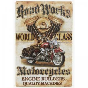 Plaque metal moto road works