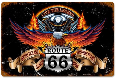 Plaque metal route66 live the legend