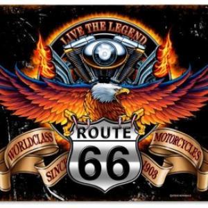 Plaque metal route66 live the legend