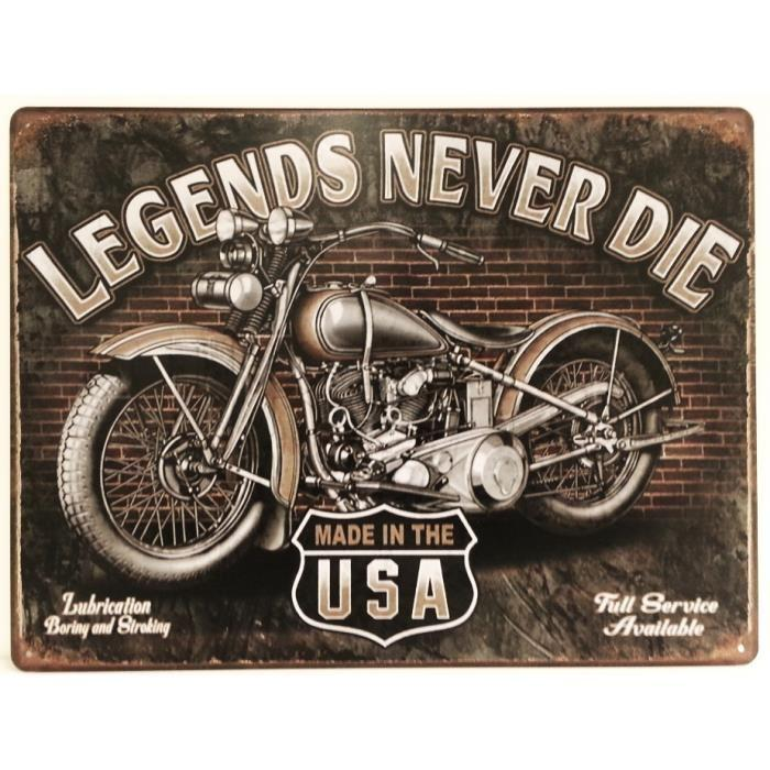 Plaque metallique moto legends 1