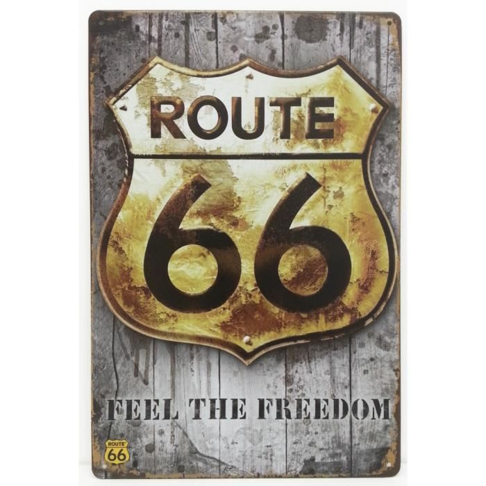 Plaque metallique route 66 freedom