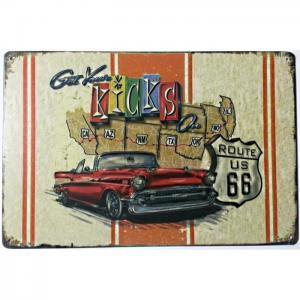 Plaque metallique route 66 kicks