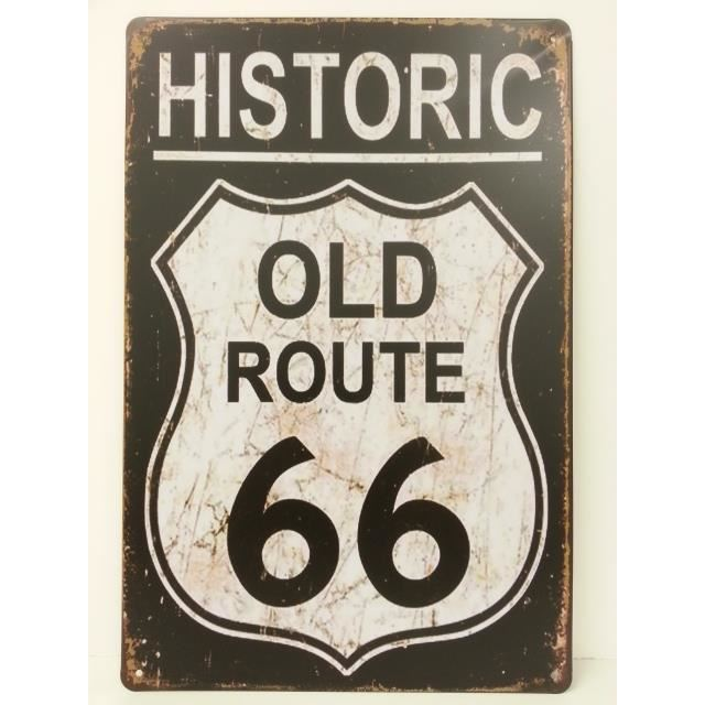 Plaque metallique route 66 old