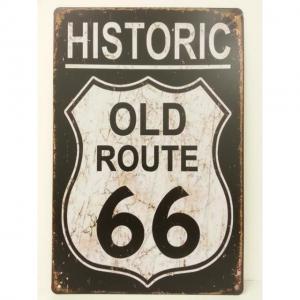 Plaque metallique route 66 old