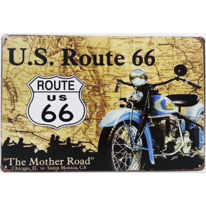Plaque metallique route 66 the mother road